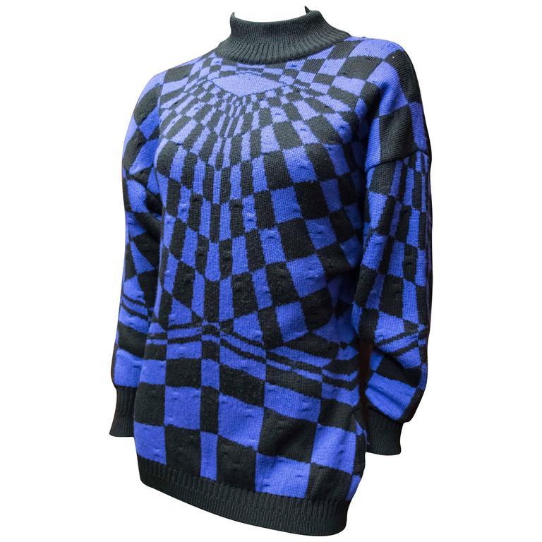 1980 Gianni Versace Batwing Purple Sweater