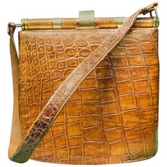 1940s Tan Crocodile Handbag