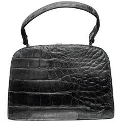 1950s Black Alligator Handbag