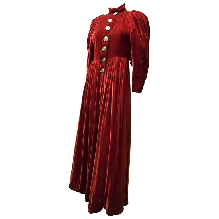 1930s Red Velvet Opera Coat  For Sale
