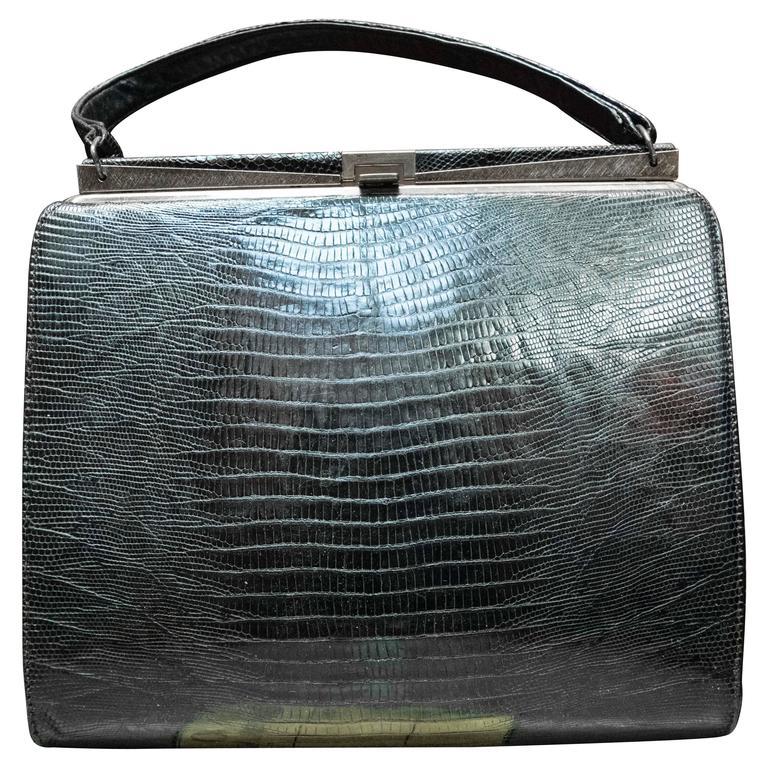 1950s Black Lizard Handbag