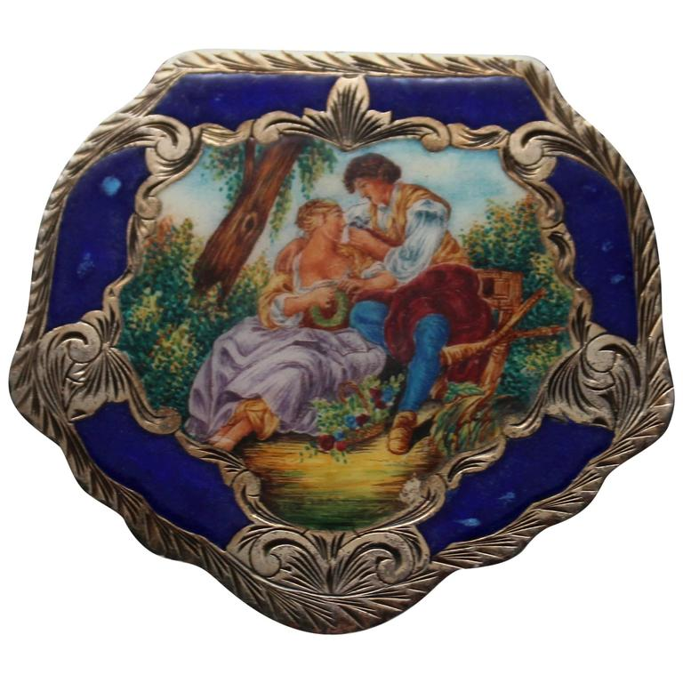 Vintage Sterling and Enamel Italian Compact Box, Francois Boucher, The Bird Cage