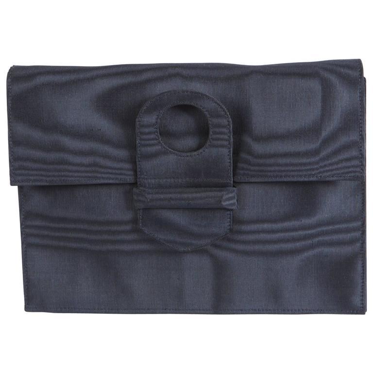 1960s Dark Navy Silk Moire Clutch