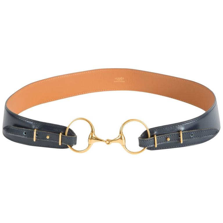 Hermès Navy Boxcalf Leather Belt