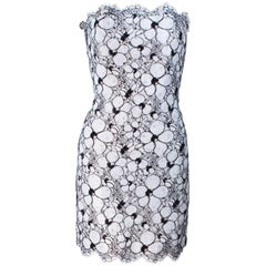FRED HAYMAN White and Black Floral Cocktail Dress with Scallop Edge Size 4
