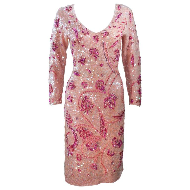 GENE SHELLY Pink Stretch Knit Beaded Wool Cocktail Dress Size 8-10 For Sale
