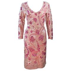 GENE SHELLY Pink Stretch Knit Beaded Wool Cocktail Dress Size 8-10