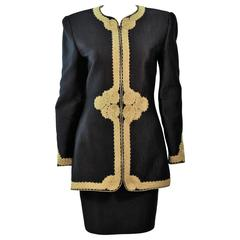 MARY MCFADDEN Black Silk Skirt Suit with Gold Embroidery Size 8