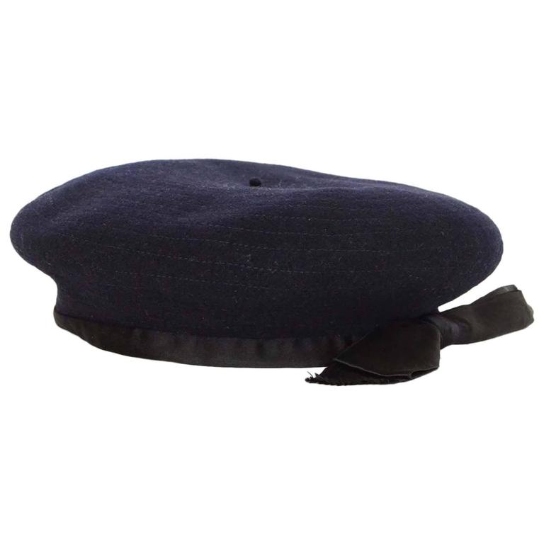 Chanel Vintage '70s Navy Wool Beret Hat  1