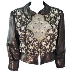 GIORGIO ARMANI Bronze Jacket with Bead Applique and Embroidery Size 44 10