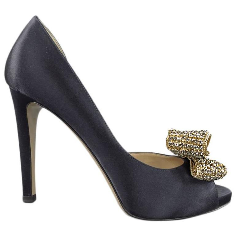 ad12435926b VALENTINO Size 6.5 Navy Silk Satin Gold Rhinestone Bow D Orsay Pumps For  Sale