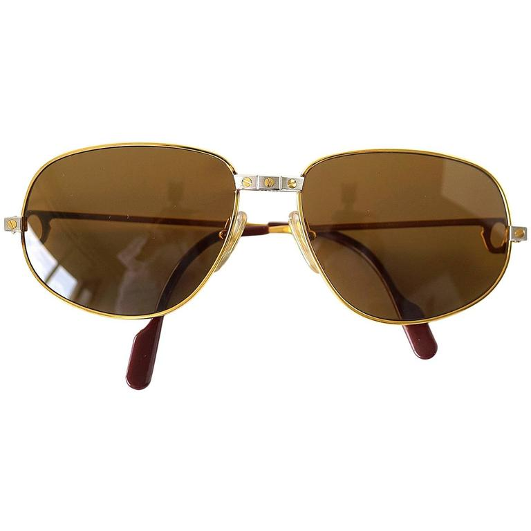 Cartier Vintage Santos Sunglasses Rare Style with Red Case