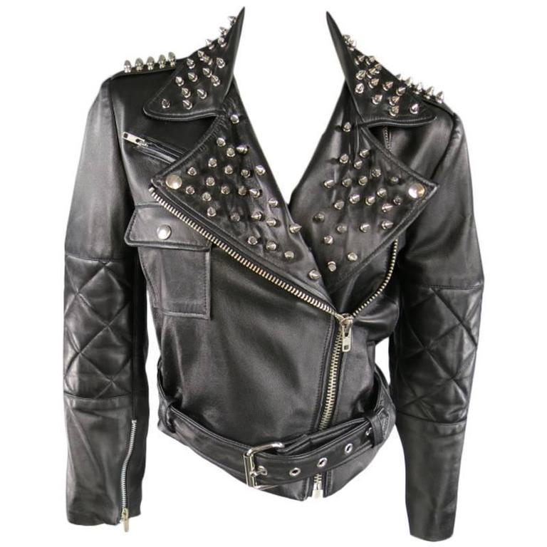 KATIE NEHRA Size L Black Spiked Leather Biker Moto Jacket 1