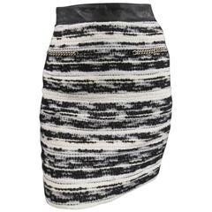 PROENZA SCHOULER Size 4 Black & White Striped Boucle Tweed Chain Mini Skirt