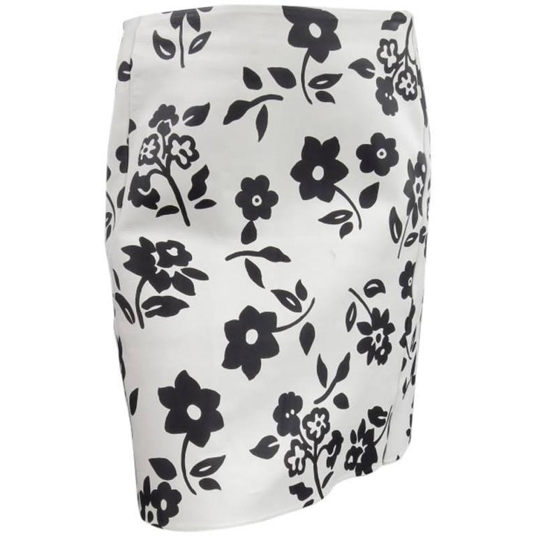 RALPH LAUREN Size 2 White Black FLoral Print Leather A line Skirt For Sale