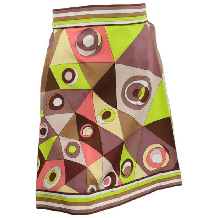 Vintage EMILIO PUCCI Size XS Brown Pink & Green Print Pleated Cotton Skirt
