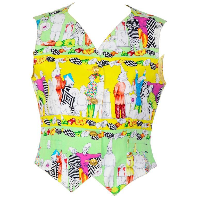 Versace Jeans Couture Multi-Colored Gnome Print Waistcoat / Vest