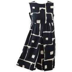 Galanos Mod Black and White Print Dress, 1960s