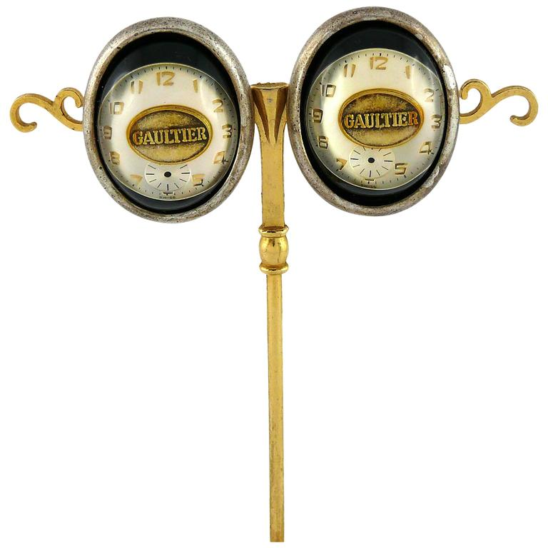 Jean Paul Gaultier Vintage Steampunk Clock Dial Clip-On Earrings Unworn 1