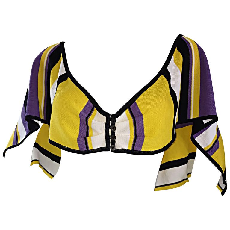 Vintage Angelo Tarlazzi Striped Cropped Knit Color Block Cape Top Avant Garde For Sale