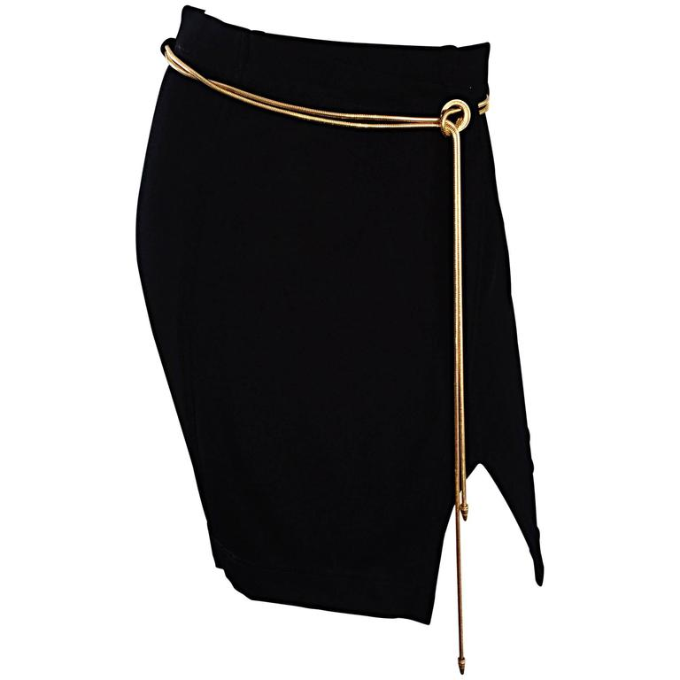 Vintage 1990s Tadashi Shoji Sexy Black Jersey Bodycon Jersey Skirt w/ Gold Chain 1
