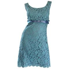 Beautiful 1960s Light Blue Silk French Lace A - Line Demi Couture I Magnin Dress