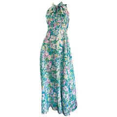 Beautiful 1970s Vintage Watercolor Flower Power Silk Maxi Dress w/ Pussycat Bow