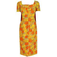 1950's Howard Greer Yellow & Orange Floral Silk Carwash-Train Cocktail Dress