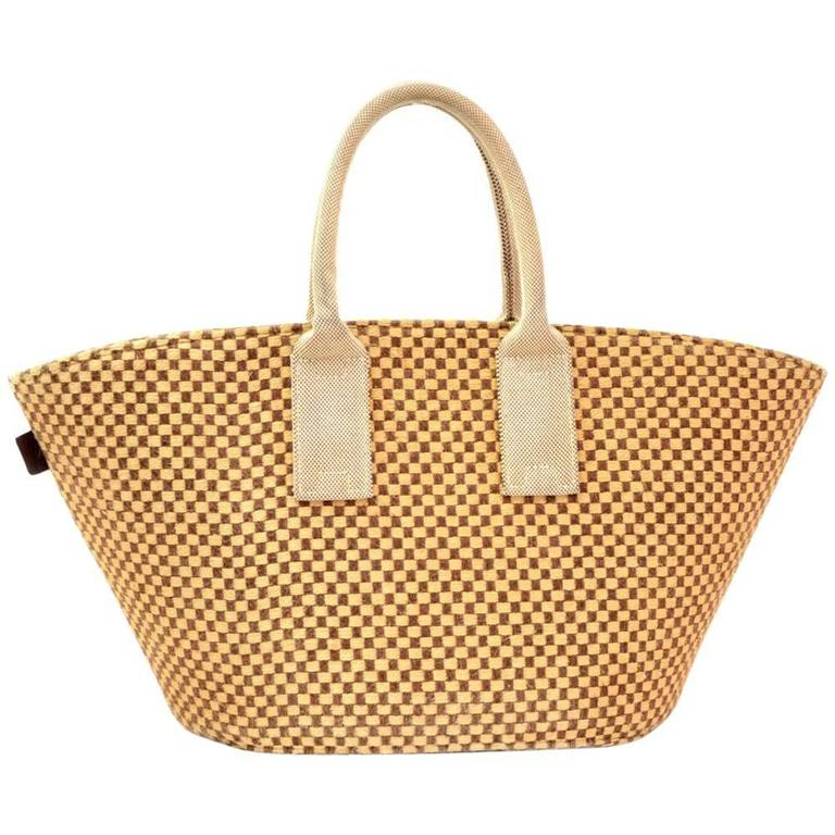Hermes Beige x Brown Straw Beach Party Tote Bag 1