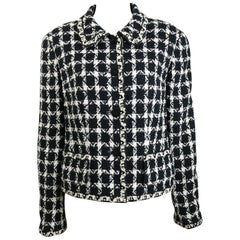 Chanel Black and White Net Overlay Tweed Jacket