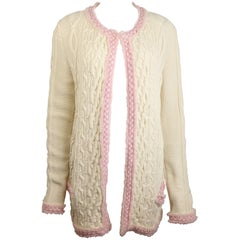Chanel White Pink Fringe Trim Knitted Pattern Cardigan Sweater