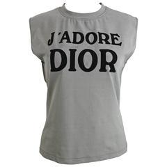 "Christian Dior John Galliano Iconic ""J'Adore Dior"" Houndstooth Tank Top"