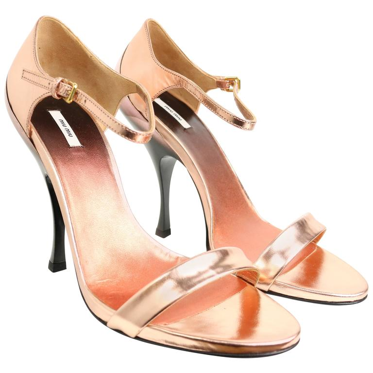Miu Miu Rose Gold Metallic Leather Sandals For Sale at 1stdibs