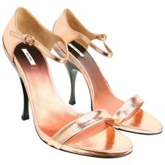 Miu Miu Rose Gold Metallic Leather Sandals