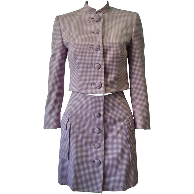 Exceptional Gianni Versace Couture Check Skirt Suit featuring Medusa Buttons 1