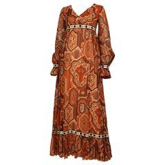1970s Jean Varon Geometric Print Cotton Maxi Dress