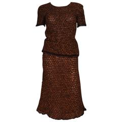 1990s Chanel Chestnut Tweed Look Knitted 2 Piece