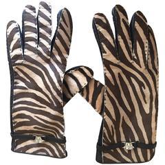Gianni Versace 1980's Zebra Print Pony Hair Gloves
