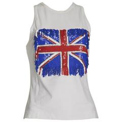 Funky Dolce and Gabbana Sequinned Union Jack White Tank Top Size 8