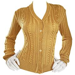 1990s Moschino Cheap & Chic Vintage Gold Metallic Ribbed Cardigan 90s Sweater