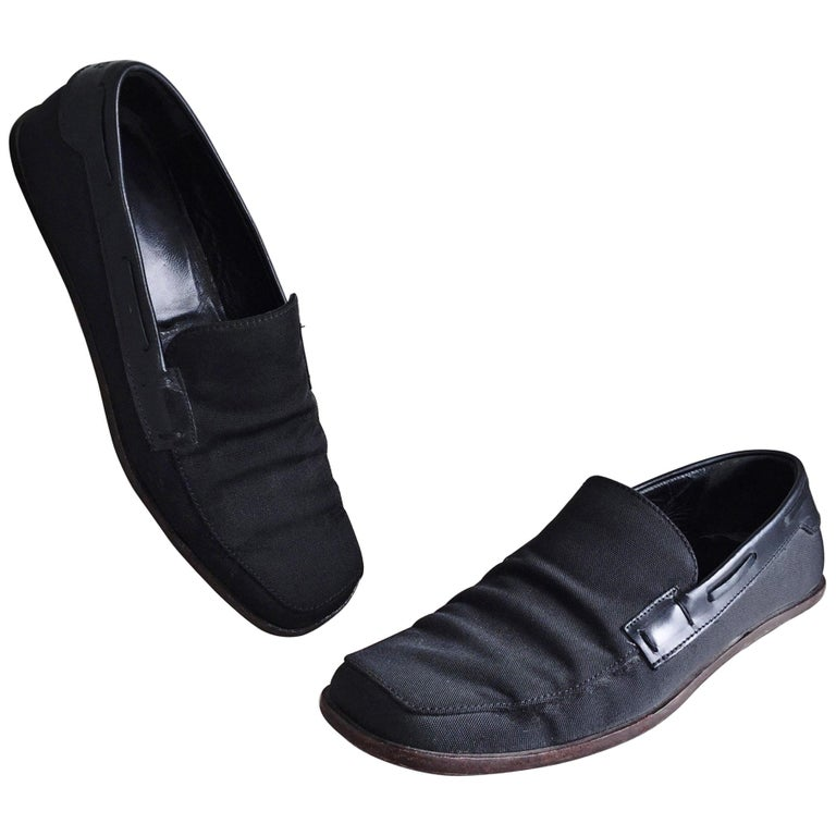 Men's Gucci by Tom Ford 1990s Size 8 Black Nylon Vintage Loafers Shoes For Sale