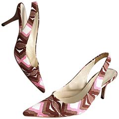 Miu Miu Pink + Brown + White Wooden Heel Slingback High Heels Sz 40 10