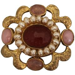 Chanel Vintage Gold Brooch & Pendant with Pink Gripoix & Pearls - circa 94P