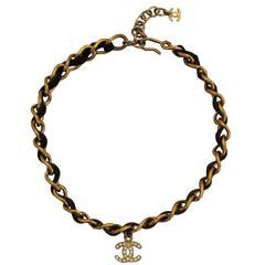 Chanel Goldtone Chain Choker w/ Black Leather and CC Rhinestone - circa 1998