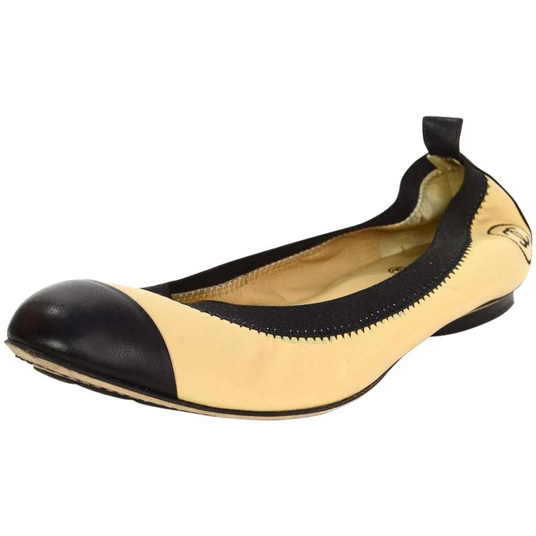 Chanel Tan And Black Leather Elastic Ballet Flats Sz 39 5