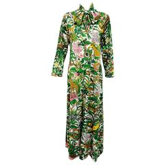 Eduardo Saks 5th Ave. jungle print bow tie lounge caftan maxi dress1970s