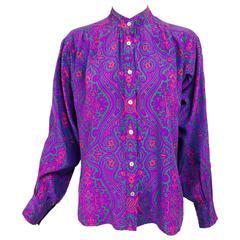 Yves Saint Laurent Moorish print silk blouse 1970s  38