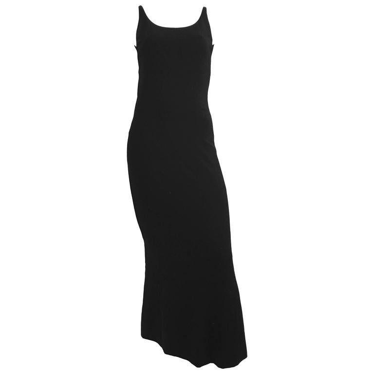 Chanel Maxi Black Wool Sleeveless Dress Size 6  For Sale