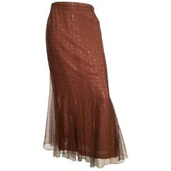 Chanel 1999 Bronze Long Lace Fluted Evening Skirt Size 8 / 42.
