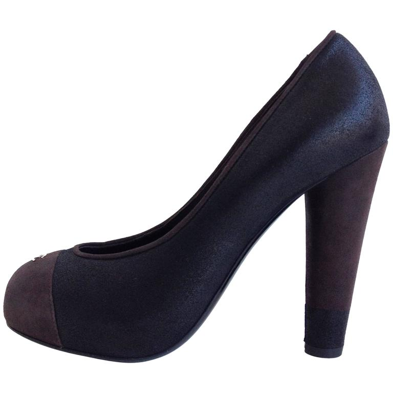 Chanel Black and Brown Coated Nubuck Pumps For Sale